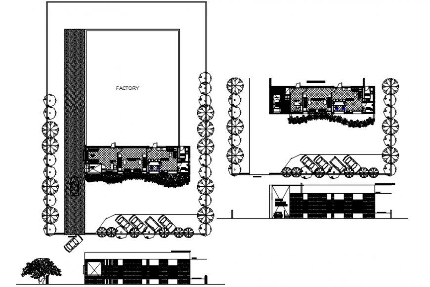 Milap's factory elevation, section and plan cad drawing details dwg file