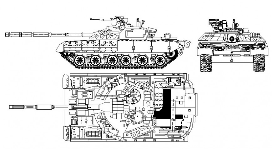 Military tank details drawing in autocad software