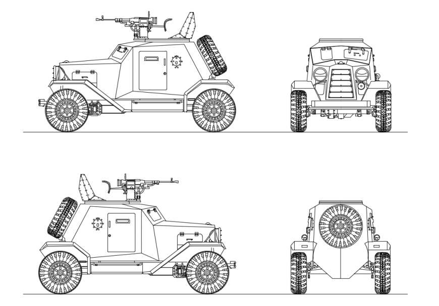 Military truck vehicle all sided elevation cad block details dwg file