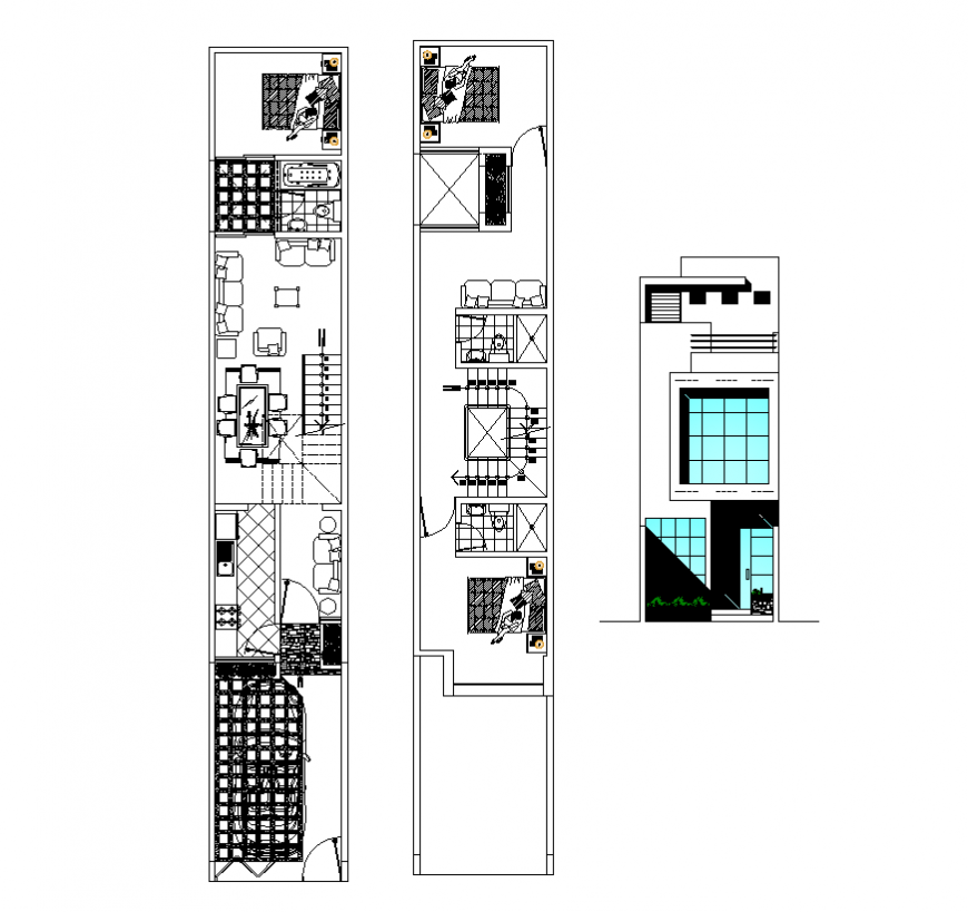 Mini-housing structure detail plan and elevation 2d view dwg file