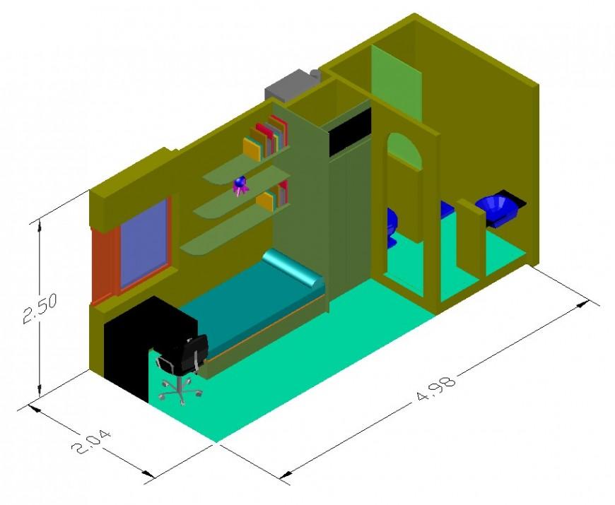 Mini apartment drawing in dwg file.