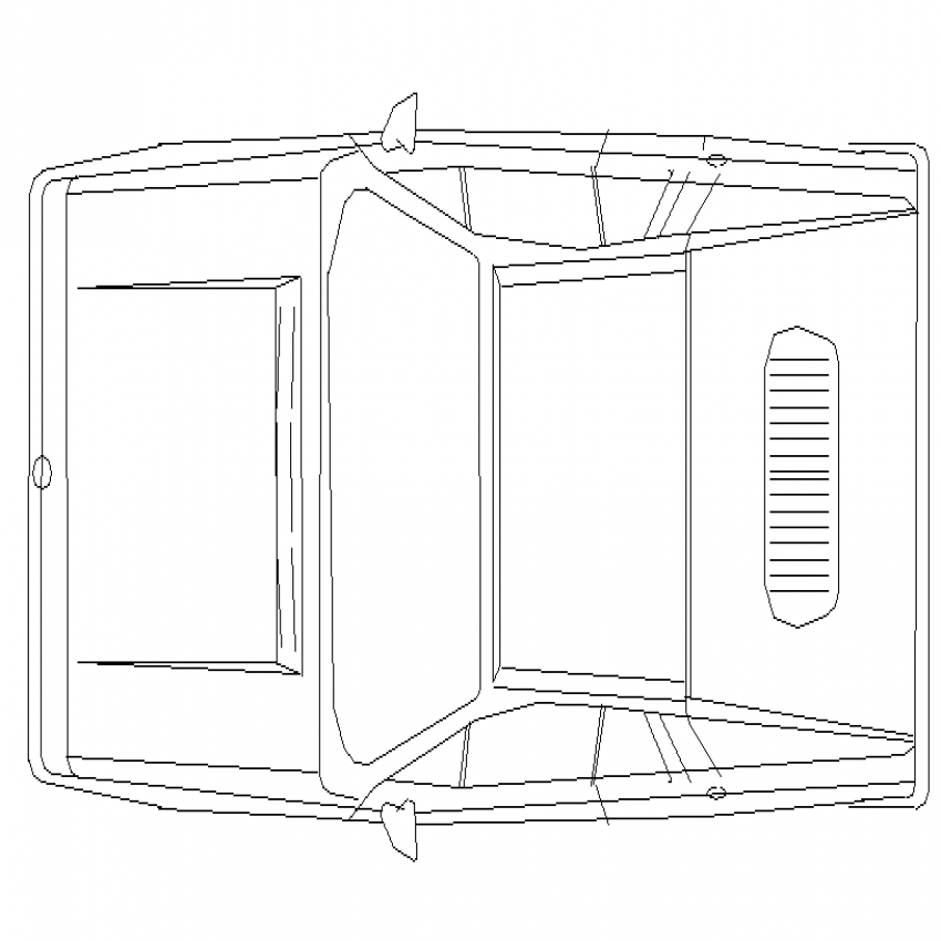 Mini car top view cad design block dwg file
