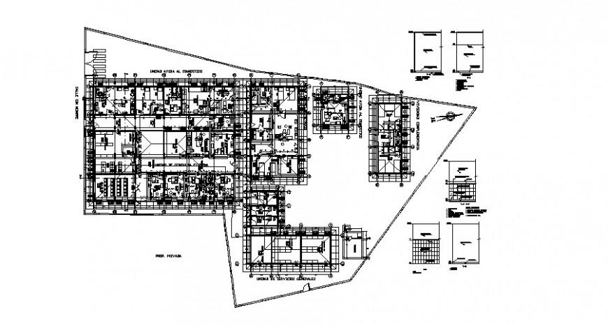 Mini hospital building first floor distribution plan cad drawing details dwg file