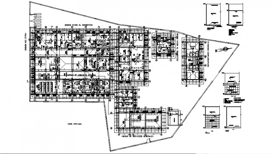 Mini hospital plan with detail in auto cad