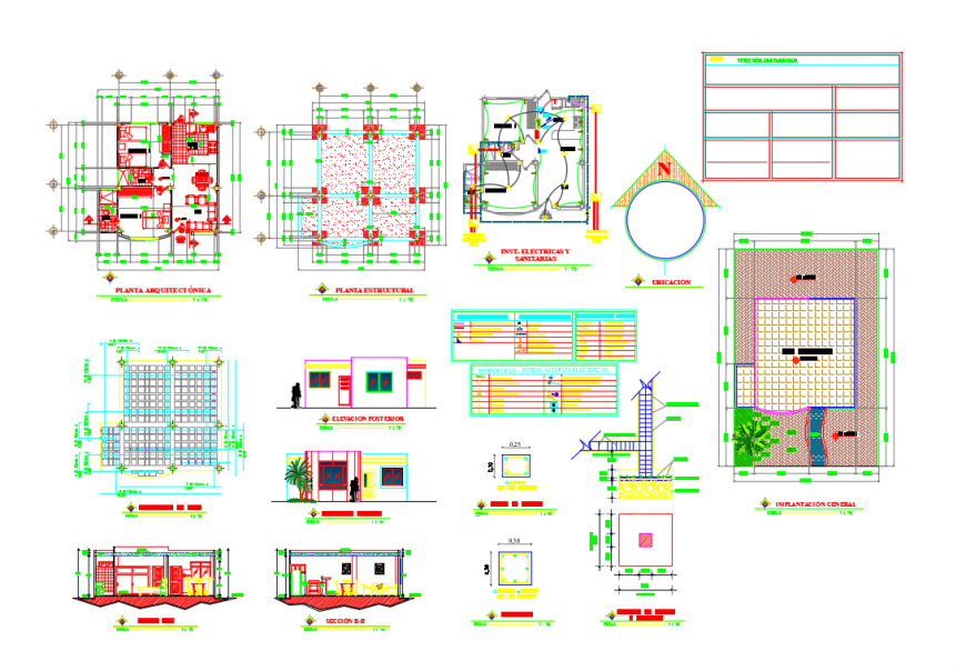 Mini house elevation, section, floor plan and structure details dwg file