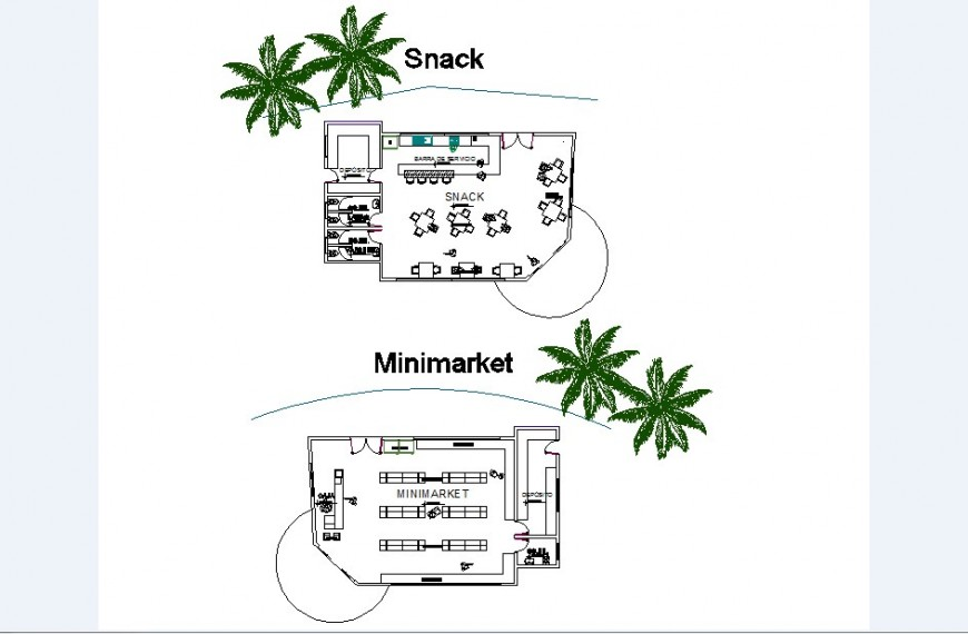 Mini market and snack store of culture center distribution plan cad drawing details dwg file
