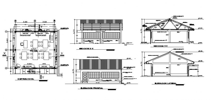 Mini restaurant elevation, section and distribution plan cad drawing details dwg file