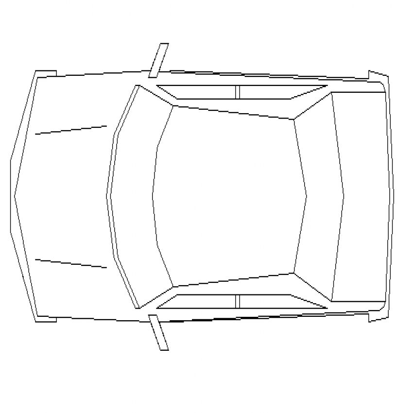 Mini sports car top view cad block design dwg file