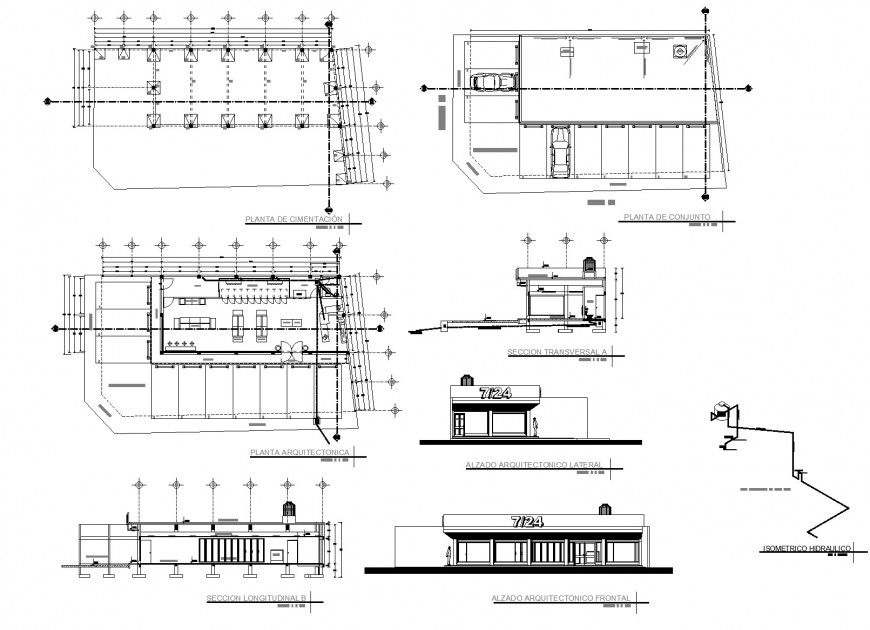 Mini store plan, elevation and section autocad file