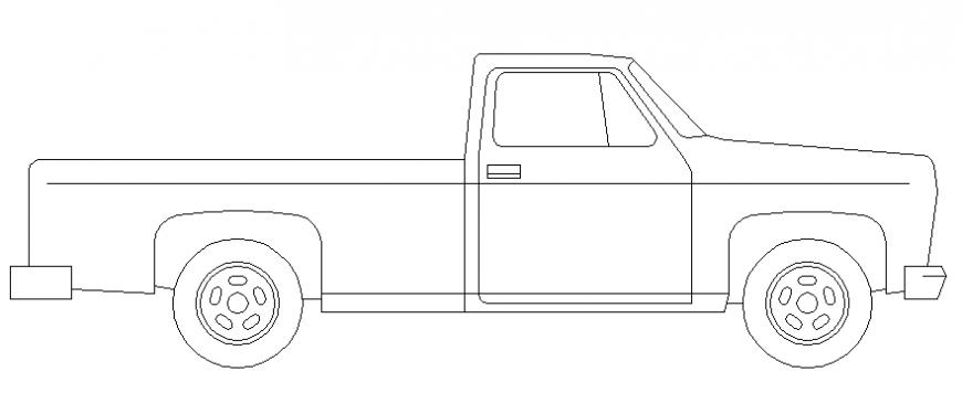 Mini transportation truck side elevation block cad drawing details dwg file