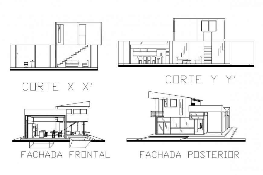 Minimalist house facade and back elevation and section details dwg file