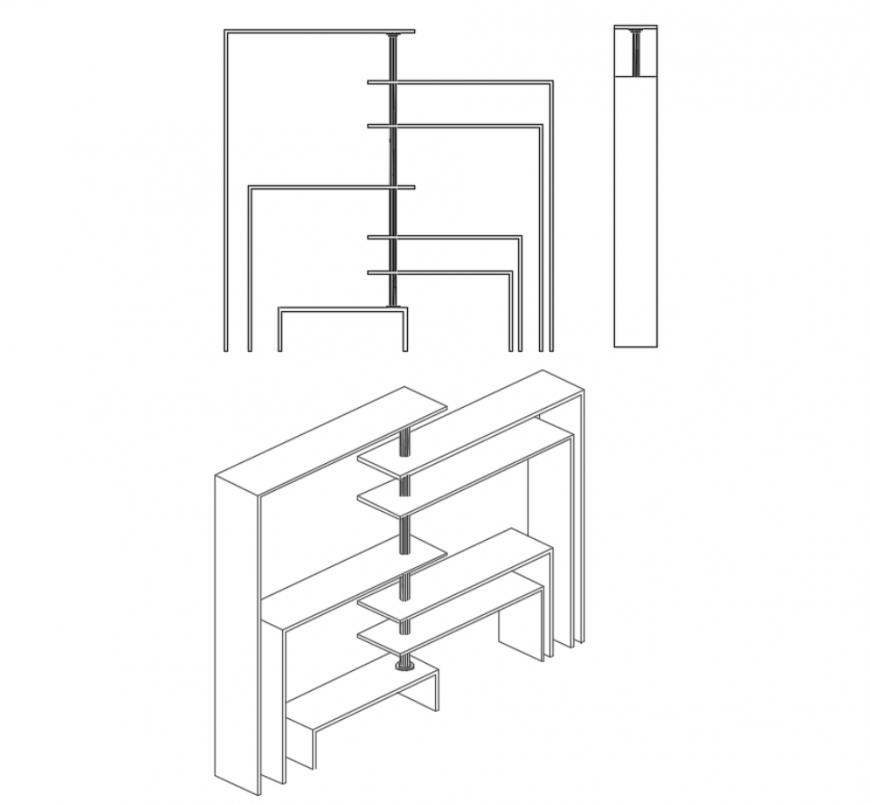 Minimalist shelving wooden garden equipment cad drawing details dwg file