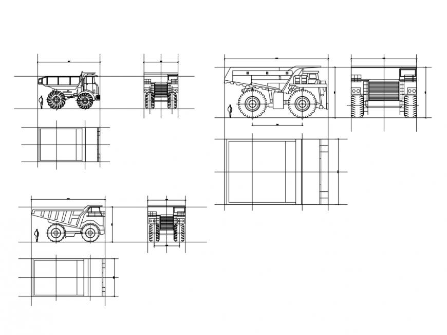 Mining of highway trucks multiple cad block details dwg file