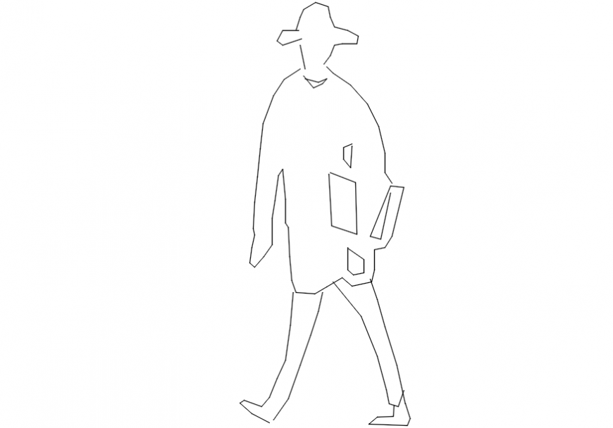 Ministry of funny walk lady elevation block drawing details dwg file