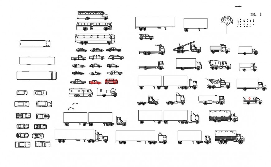 Miscellaneous car, trucks and vehicle blocks cad drawing details dwg file