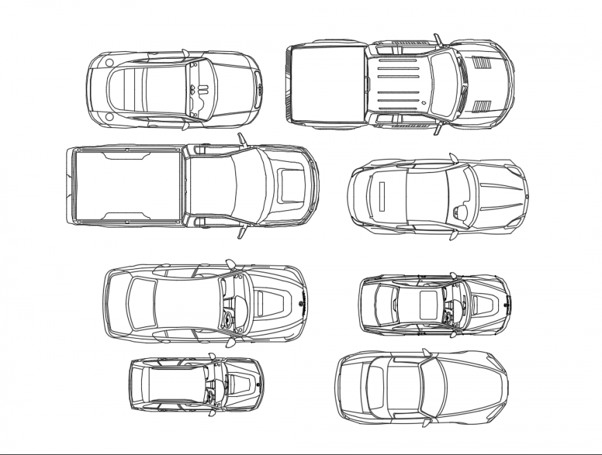 Miscellaneous cars top view elevations cad block details dwg file