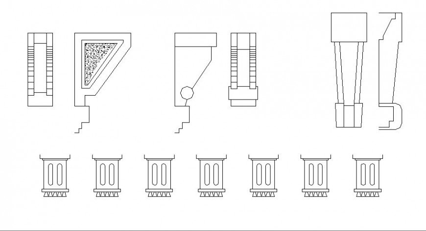 Miscellaneous column elevation blocks cad drawing details dwg file