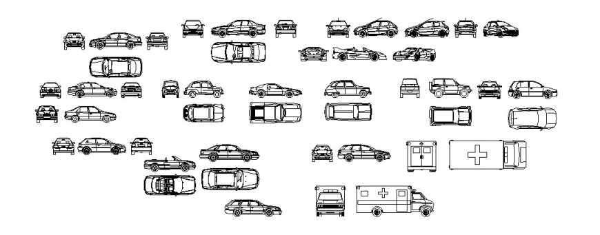 Miscellaneous common and luxuries cars and ambulance blocks cad drawing details dwg file