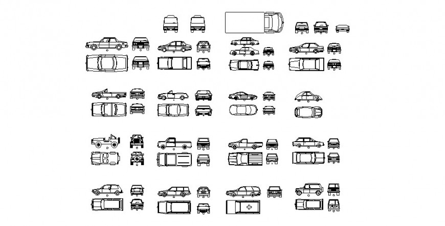 Miscellaneous common car and vehicle blocks cad drawing details dwg file