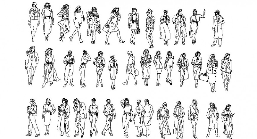 Miscellaneous common people act blocks cad drawing details dwg file