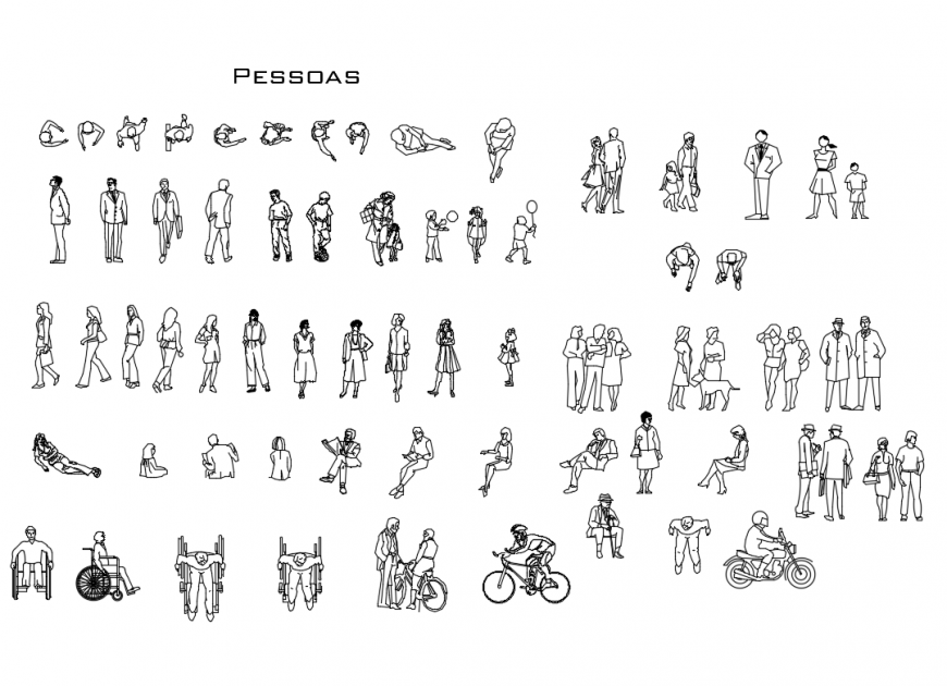 Miscellaneous common people blocks cad drawing details dwg file