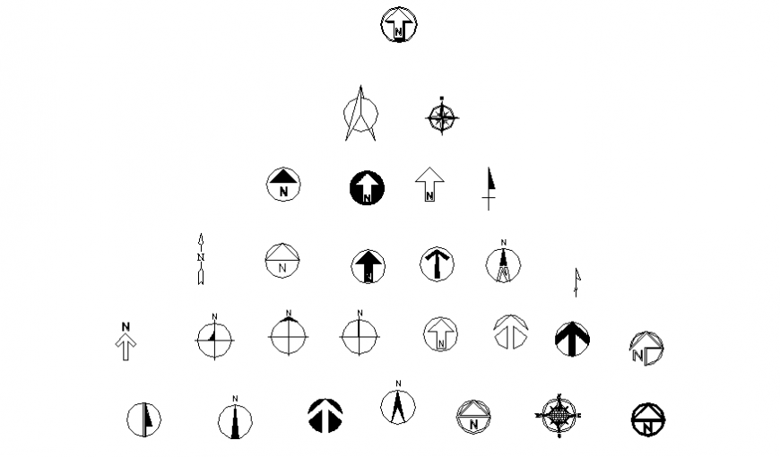 Miscellaneous compass and directional symbols blocks cad drawing details dwg file