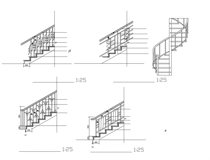 Miscellaneous decorative staircase railing elevation blocks cad drawing details dwg file