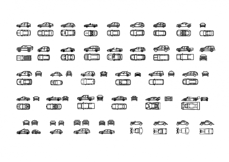 Miscellaneous family car blocks cad drawing details dwg file