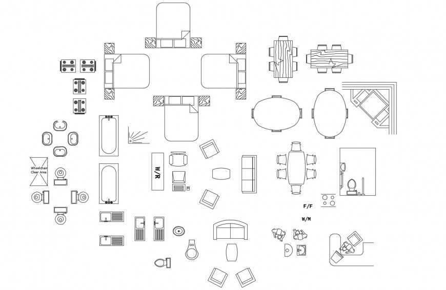Miscellaneous furniture, household and sanitary blocks cad drawing details dwg file