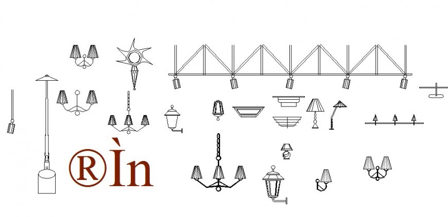 Miscellaneous hanging and common lamp blocks cad drawing details dwg file