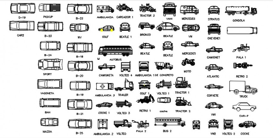 Miscellaneous long vehicles and car elevation blocks cad drawing details dwg file