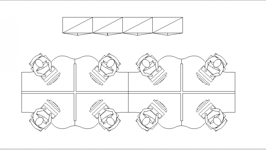 Miscellaneous office desks and pc blocks cad drawing details dwg file