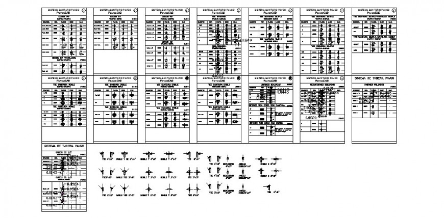 Miscellaneous pavcopipes blocks cad drawing details dwg file