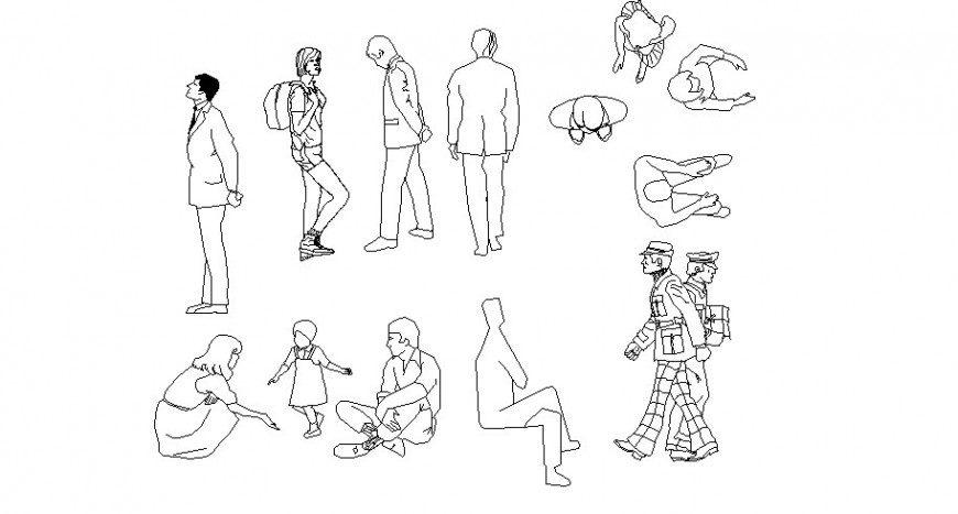 Miscellaneous people figure blocks cad drawing details dwg file