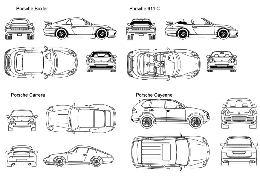 Miscellaneous Porsche luxuries car blocks cad drawing details dwg file