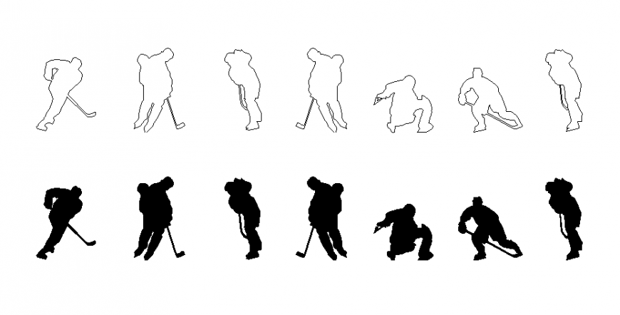 Miscellaneous sports people with hockey cad blocks details dwg file