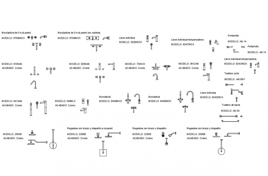 Miscellaneous taps and showers blocks cad drawing details dwg file