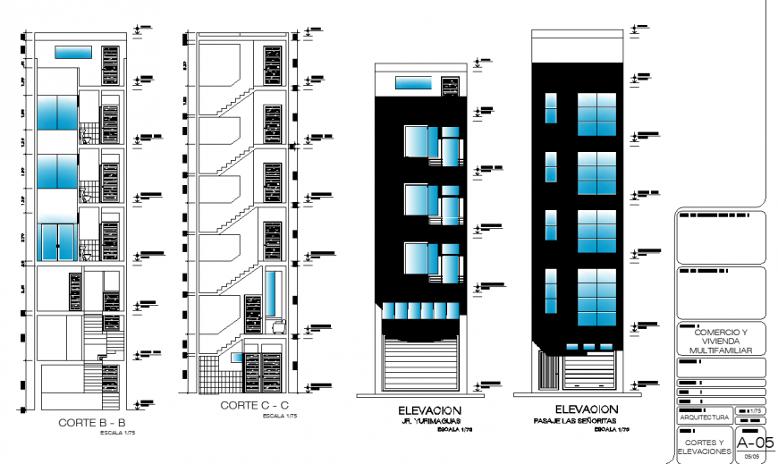 Mix used apartment front elevation drawing in dwg file.