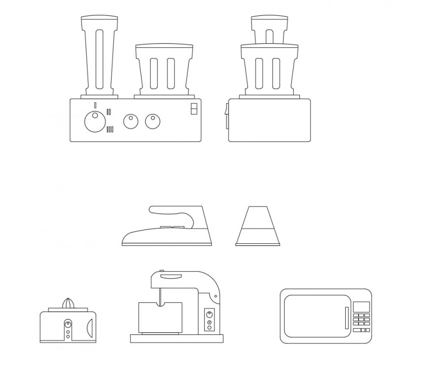 Kitchen Dwg File: Uni-familiar Dining Table With Crockery Top View Elevation