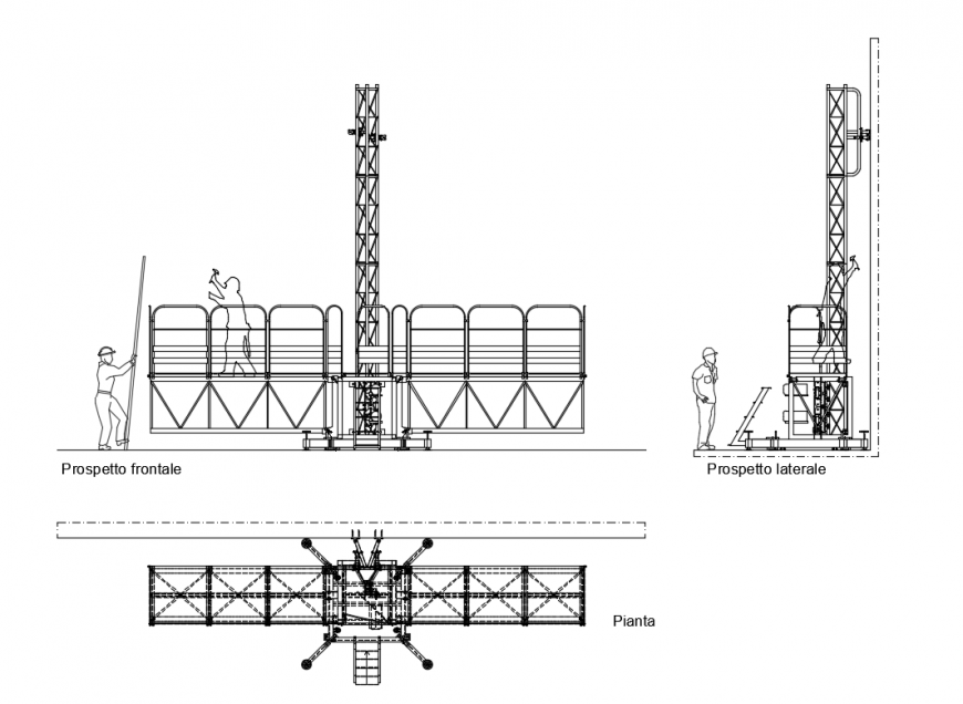 Mobile tower front and back elevations details with plan dwg file