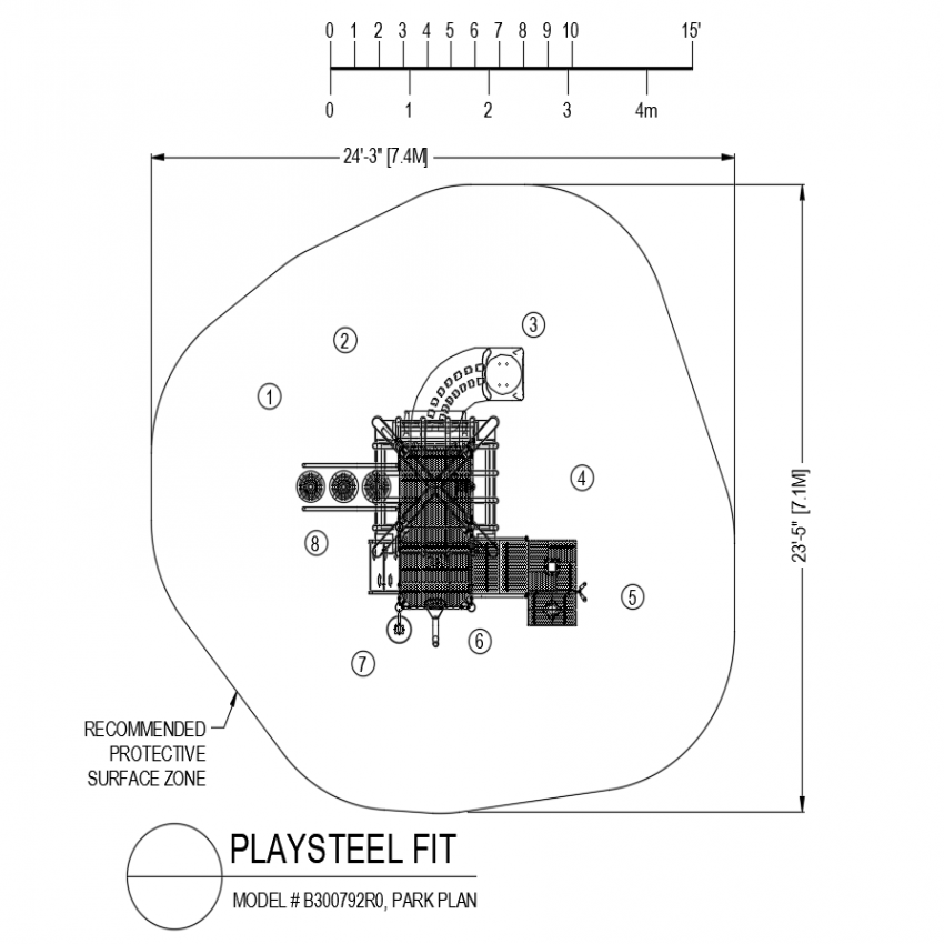 Model B300792R0 park plan of play steel fit dwg file