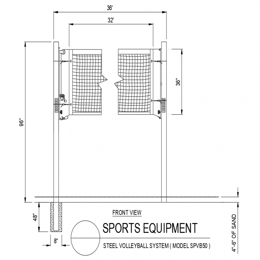 Model no. SPVB50 steel sports system front view dwg file