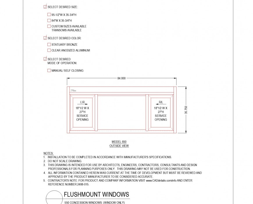 Model out side view Flush mount window plan autocad file