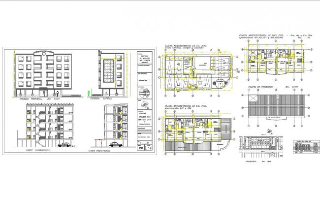 Modern multi family house plans in cad dwg files for Multi family home plans