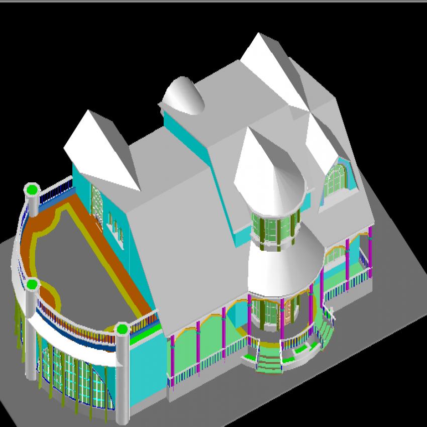 Modern 3d bungalow top view design dwg file