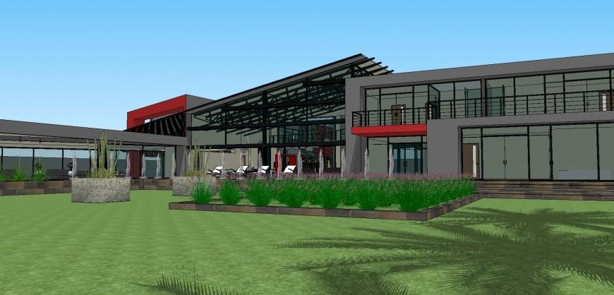 Modern 3d residential villa model cad drawing details skp file