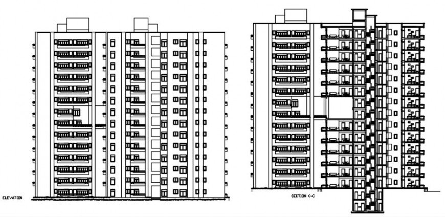 Modern apartments section elevation model