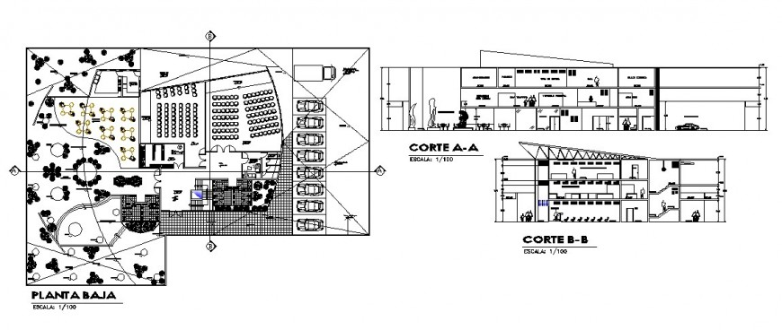 Modern art museum section and ground floor plan cad drawing details dwg file