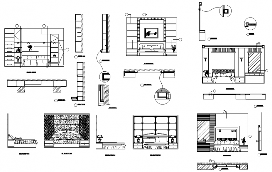 Modern bedroom furniture plan, elevation and section autocad file