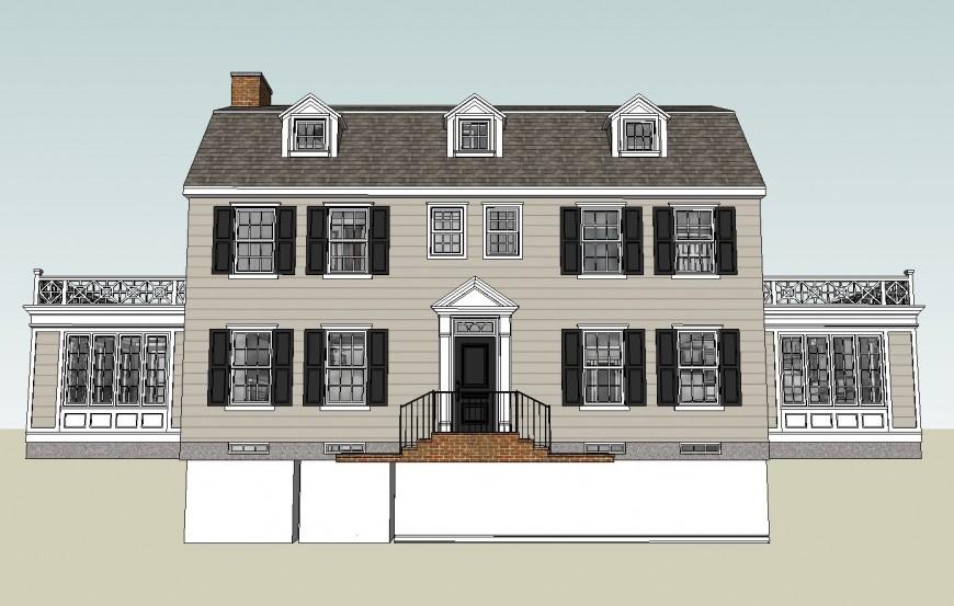 Modern bungalow 3d front elevation cad drawing details skp file